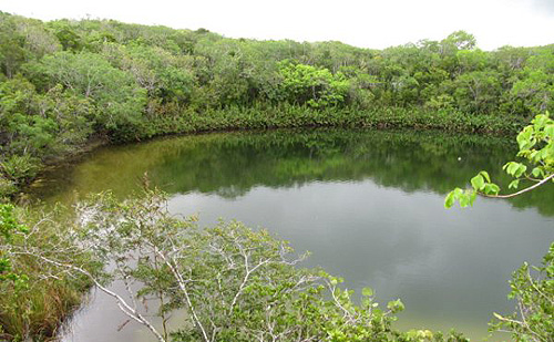 Cottage Pond on North Caicos - not just a freshwater pond, but an enormous sinkhole that becomes a salt water chamber at 65 feet underwater, opening into a complicated network of subterrainan tunnels, and bottoming out at around 255 feet.